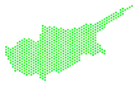 Fresh green Cyprus Island map. Vector hex-tile territorial scheme drawn with eco green color hues. Abstract Cyprus Island map concept is composed of honeycomb items.