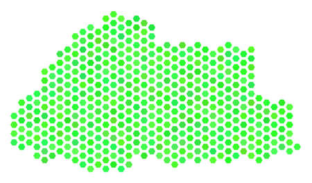 Eco green Bhutan map. Vector hex tile territorial map drawn with fresh green color hues. Abstract Bhutan map concept is combined of hex-tile blots. Illustration