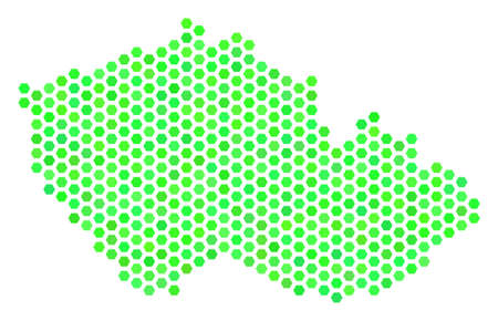 Eco green Czech map. Vector hexagon territory plan using eco green color tints. Abstract Czech map composition is constructed of hexagonal elements.