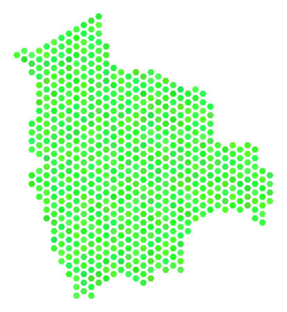 Fresh green Bolivia map. Vector hex-tile geographic plan drawn with eco green color tones. Abstract Bolivia map composition is designed of hexagon items. Illustration