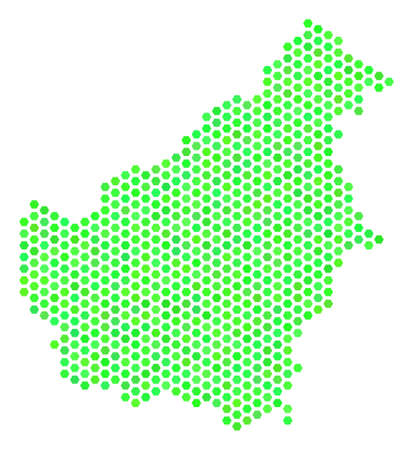 Green Borneo Island map. Vector honeycomb territorial plan using fresh green color hues. Abstract Borneo Island map mosaic is designed of hexagon spots. Ilustração