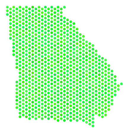 Green American State Georgia map. Vector honeycomb territory scheme in fresh green color shades. Abstract American State Georgia map mosaic is combined with hexagon elements. Иллюстрация