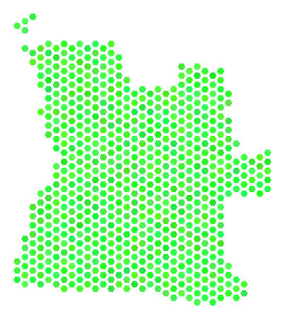 Fresh green Angola map. Vector hex tile geographic plan drawn with fresh green color tinges. Abstract Angola map collage is made with honeycomb items. Illustration