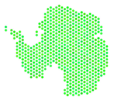 Eco green Antarctica map. Vector hex-tile territorial map using fresh green color tints. Abstract Antarctica map collage is constructed of hexagonal elements.