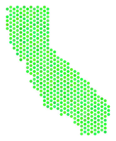 Fresh green California map. Vector hex tile geographic scheme in fresh green color tones. Abstract California map collage is formed of hexagonal spots.