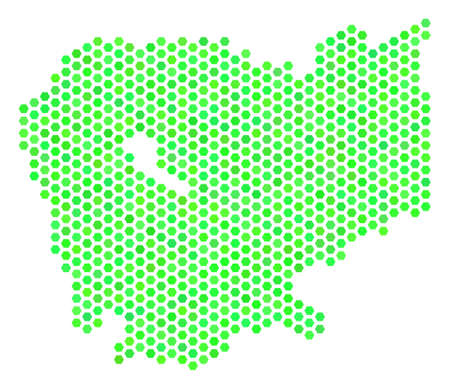 Fresh green Cambodia map. Vector hexagon territorial scheme drawn with green color tints. Abstract Cambodia map composition is designed with hexagonal blots.