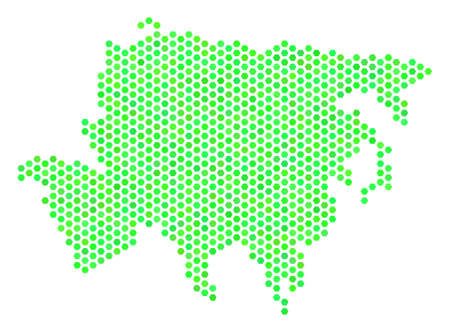 Eco green Asia map. Vector hexagonal territory scheme drawn with eco green color variations. Abstract Asia map composition is made with hexagonal spots.
