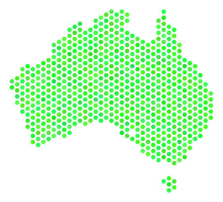Green Australia map. Vector hexagonal geographic plan drawn with eco green color hues. Abstract Australia map composition is formed with hex-tile spots.