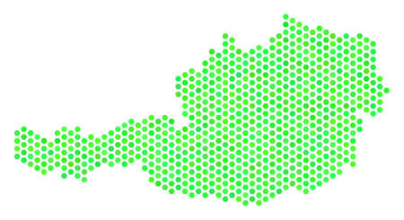 Eco green Austria map. Vector hexagonal territory plan in fresh green color hues. Abstract Austria map mosaic is done of hex tile items.
