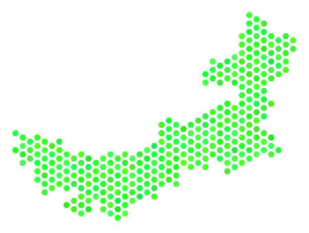 Fresh green Chinese Inner Mongolia map. Vector hex tile territory plan drawn with eco green color tones. Abstract Chinese Inner Mongolia map mosaic is organized with hex tile elements.