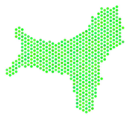 Green Christmas Island map. Vector honeycomb territorial plan drawn with eco green color shades. Abstract Christmas Island map mosaic is combined with hexagon blots. Illustration