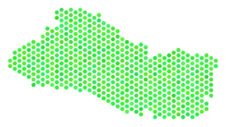 Green El Salvador map. Vector hexagon territory scheme in eco green color hues. Abstract El Salvador map composition is designed of hex tile blots. Illustration