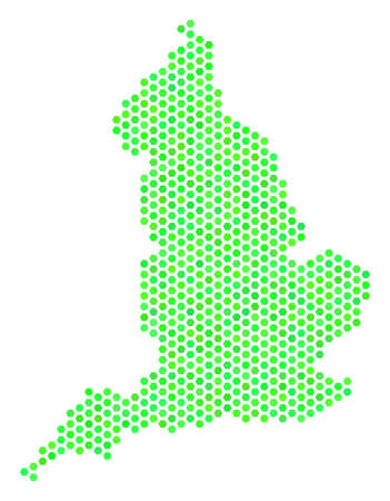 Green England map. Vector hexagon territorial plan in fresh green color tints. Abstract England map concept is combined with hexagon blots. Illustration