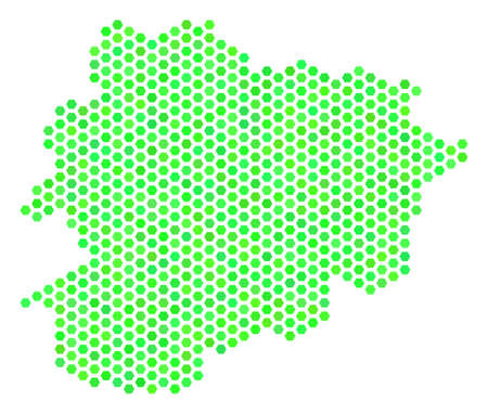 Fresh green Andorra map. Vector hexagonal territorial scheme using eco green color tints. Abstract Andorra map mosaic is composed of hexagonal elements. Illustration