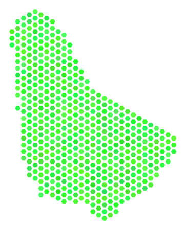 Fresh green Barbados map. Vector hex-tile territory map drawn with eco green color shades. Abstract Barbados map concept is formed of honeycomb items.