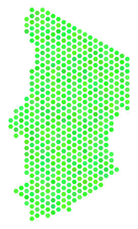 Fresh green Chad map. Vector hex-tile geographic plan in fresh green color shades. Abstract Chad map concept is combined of honeycomb items. Illustration