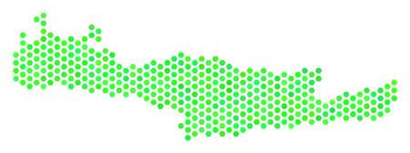 Green Crete Island map. Vector hexagonal geographic plan using fresh green color shades. Abstract Crete Island map concept is combined of hexagon blots.