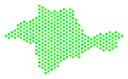 Fresh green Crimea map. Vector hexagon territorial scheme using fresh green color tints. Abstract Crimea map collage is done with hex tile blots.