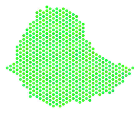 Eco green Ethiopia map. Vector hex-tile territorial plan drawn with fresh green color tints. Abstract Ethiopia map mosaic is done of hexagon spots. Illustration