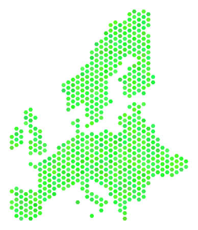 Green European Union map. Vector honeycomb territorial scheme using green color tones. Abstract European Union map mosaic is formed of hexagonal elements.