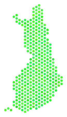 Green Finland map. Vector hex tile territory scheme using eco green color shades. Abstract Finland map mosaic is composed with hexagonal blots. Illustration