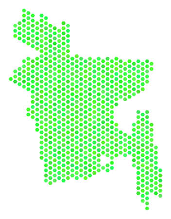 Eco green Bangladesh map. Vector hex-tile territorial scheme using fresh green color variations. Abstract Bangladesh map composition is made of hex tile elements.