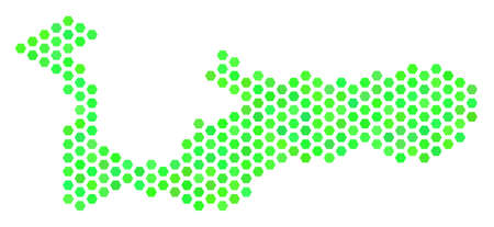Green Grand Cayman Island map. Vector hex-tile territorial scheme using green color tinges. Abstract Grand Cayman Island map concept is done with hexagon spots. Illustration