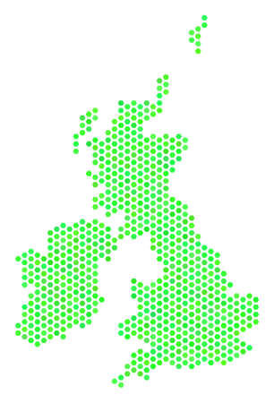 Green Great Britain And Ireland map. Vector hex-tile territory map using eco green color tones. Abstract Great Britain And Ireland map composition is constructed with honeycomb spots. Illustration