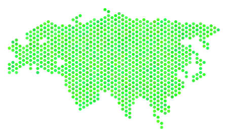 Eco green Eurasia map. Vector hex tile territory map in green color variations. Abstract Eurasia map composition is organized with honeycomb items.