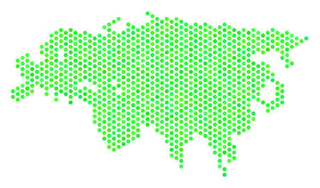 Fresh green Europe And Asia map. Vector hexagon territory scheme in eco green color tones. Abstract Europe And Asia map mosaic is designed with hex tile items.