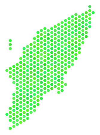 Green Greek Rhodes Island map. Vector hex-tile territorial map in fresh green color variations. Abstract Greek Rhodes Island map mosaic is designed of hex tile items.