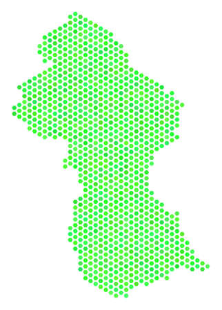 Eco green Guyana map. Vector hex tile territorial plan drawn with green color tinges. Abstract Guyana map concept is done with honeycomb elements.