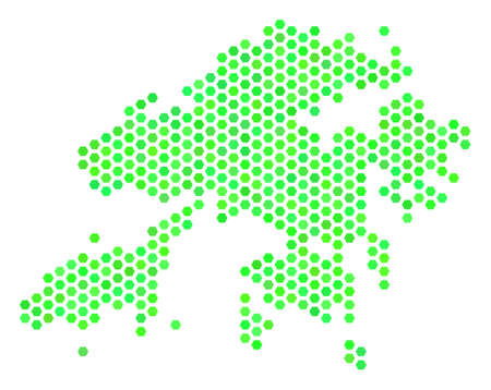 Eco green Hong Kong map. Vector hex tile territorial map in eco green color hues. Abstract Hong Kong map concept is formed with honeycomb elements. Illustration