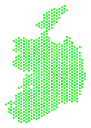 Eco green Ireland Republic map. Vector honeycomb territorial plan in eco green color variations. Abstract Ireland Republic map composition is done of hexagon items. Stock Illustratie