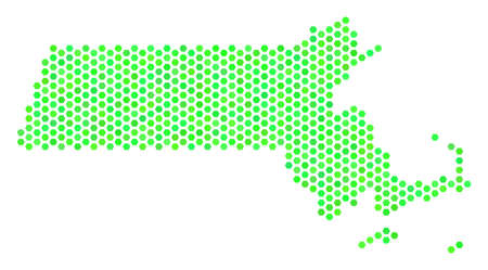 Eco green Massachusetts State map. Vector hexagonal geographic plan using eco green color tones. Abstract Massachusetts State map mosaic is formed of hex tile spots. Illustration