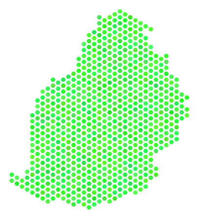 Eco green Mauritius Island map. Vector hex tile territory scheme drawn with fresh green color hues. Abstract Mauritius Island map collage is done of honeycomb elements. Illustration