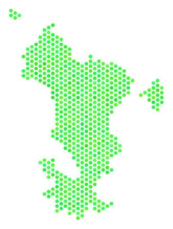 Green Mayotte Island map. Vector hex tile geographic scheme in eco green color shades. Abstract Mayotte Island map mosaic is composed of hexagonal blots.