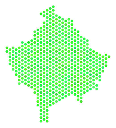 Green Kosovo map. Vector hex tile geographic plan using fresh green color tones. Abstract Kosovo map collage is constructed with hex-tile elements.