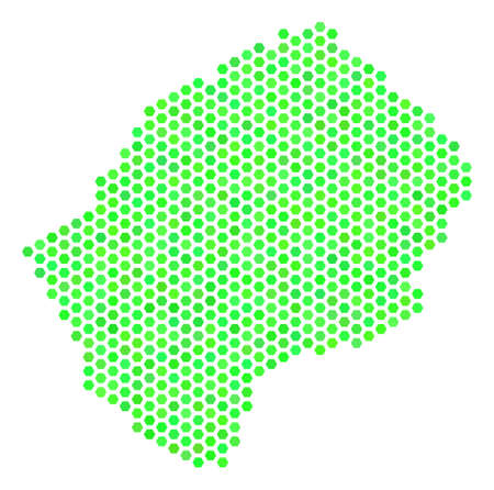 Eco green Lesotho map. Vector hex tile territory map drawn with eco green color tints. Abstract Lesotho map mosaic is constructed with honeycomb items.