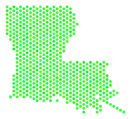 Green Louisiana State map. Vector hex tile territorial plan in eco green color tones. Abstract Louisiana State map collage is constructed of hexagon blots. Illustration