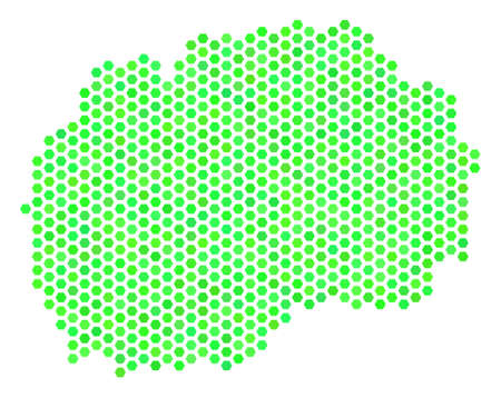 Fresh green Makedonia map. Vector hexagon territorial plan drawn with eco green color variations. Abstract Makedonia map concept is done of hexagonal items. Illustration