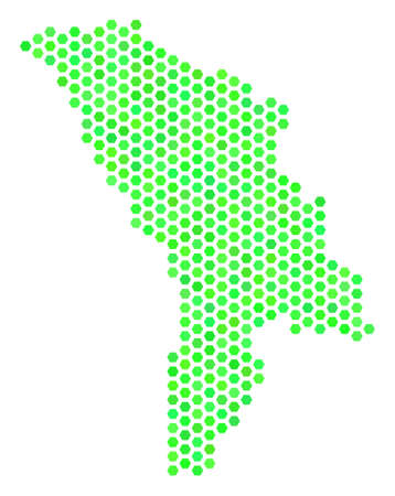 Fresh green Moldova map. Vector honeycomb territory scheme in green color hues. Abstract Moldova map concept is designed with hexagon items. Illustration