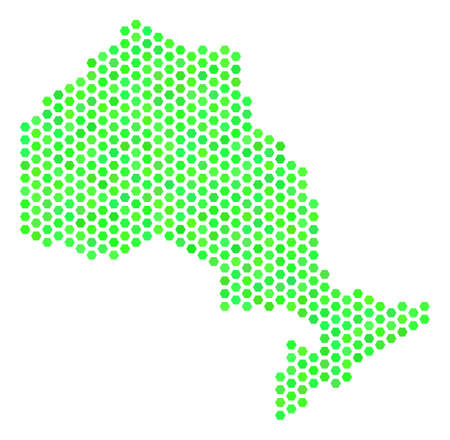 Green Ontario Province map. Vector hex-tile territorial map using green color hues. Abstract Ontario Province map collage is organized with hex-tile elements.