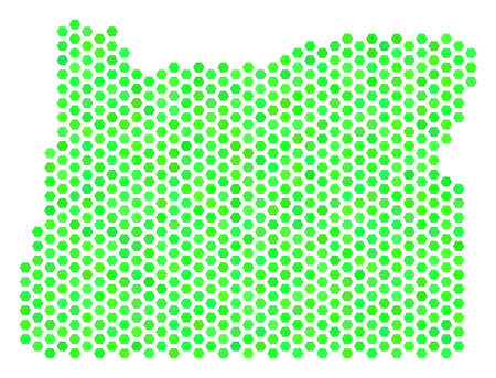 Green Oregon State map. Vector honeycomb geographic scheme using eco green color tones. Abstract Oregon State map collage is made of hex-tile spots. Illustration