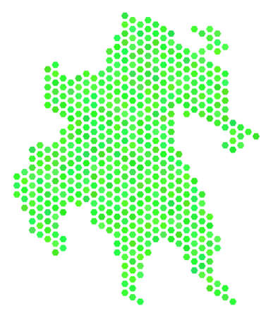 Green Peloponnese Half-Island map. Vector hexagonal territorial map using green color variations. Abstract Peloponnese Half-Island map mosaic is created with hex-tile elements. Illustration