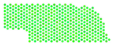Fresh green Nebraska State map. Vector hex tile geographic scheme using fresh green color hues. Abstract Nebraska State map collage is done of hexagon elements.