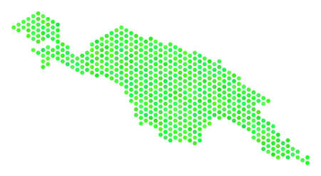 Fresh green New Guinea Countries map. Vector honeycomb territorial plan using fresh green color tints. Abstract New Guinea Countries map collage is designed of honeycomb elements.
