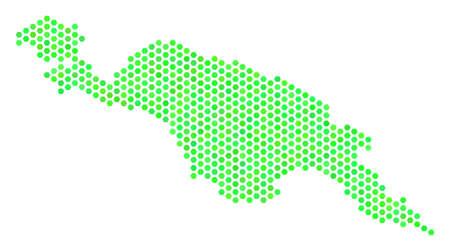 Carte de l'île verte de Nouvelle-Guinée. Carte de territoire hexagonale de vecteur dessinée avec des tons de couleur verte écologique. La mosaïque abstraite de la carte de l'île de Nouvelle-Guinée est combinée d'éléments de tuiles hexagonales.