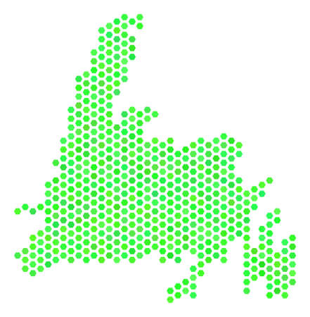 Green Newfoundland Island map. Vector hex-tile territorial map drawn with eco green color tints. Abstract Newfoundland Island map mosaic is done of honeycomb spots.