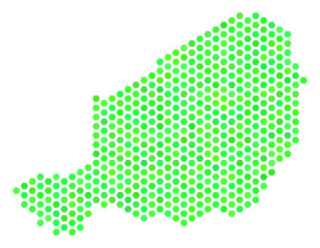 Green Niger map. Vector hexagonal territorial plan drawn with green color tinges. Abstract Niger map concept is designed with honeycomb spots.